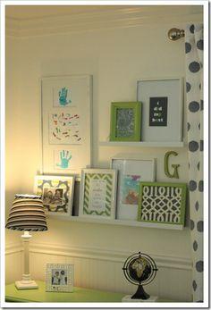 Cute artwork gallery in kid's bedroom