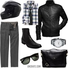 GARB: TWO WHEELS TO WORK Leave the suit jacket and family sedan at home, and ride the hog in to the office today. Looks Style, Style Me, Dope Style, Look Fashion, Mens Fashion, Boss Black, Slim Fit Dress Shirts, Well Dressed, Gq