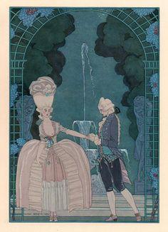 Les Fêtes Galantes de Paul Verlaine, illustrations de George Barbier