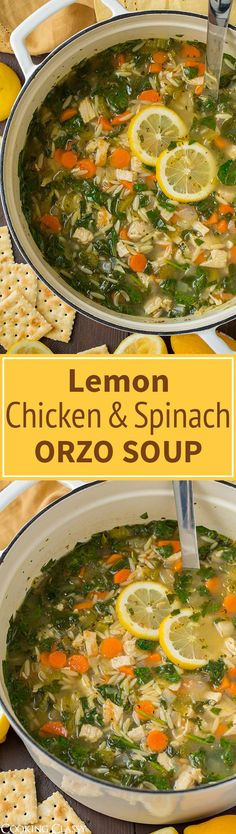 Lemon Chicken and Spinach Orzo Soup - easy, hearty one pot soup! I'll make this again and again. Lemon Chicken and Spinach Orzo Soup - easy, hearty one pot soup! I'll make this again and again. Spinach Stuffed Chicken, Spinach Soup, Spinach Recipes, Cooking Recipes, Healthy Recipes, Sweet Recipes, Le Diner, Soup And Sandwich, Bon Appetit
