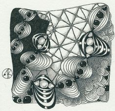 "Antonine Tangles: Diva Challenge #234 - CanT, That's New To Me ""Y"", Square One: Purely Zentangle - Inapod"
