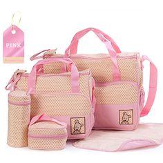 (27.74$)  Watch here  - Hi-Q waterproof 5PCS/Set Nylon baby diaper bags Multi-function large capacity Mummy bag aslant backpack diaper bags 8 Colors