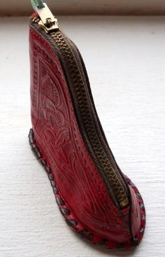 Sold-Old Vintage Hand Tooled Tooling Tool Leather Boot Shoe Coin Change Purse Horse Check out our listings ~OrphanedTreasures~    eBay