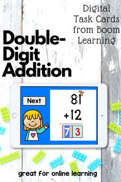 These double-digit addition boom cards include 24 task cards. Special education students solve problems without and with regrouping using touch math. Touch Math, Addition And Subtraction, Task Cards, Special Education, Problem Solving, Students, Teaching, Digital, Distance