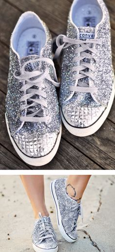 e4c9c902709 Glitter Sneaker DIY with studded toe by .even though I have silver glitter  converse I may do this in another color!