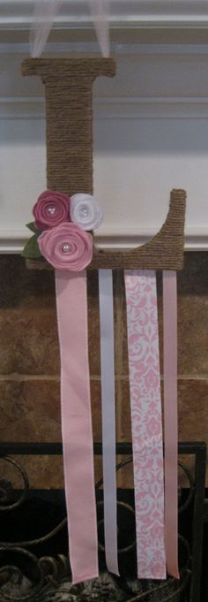 Custom Twine Wrapped Initial Bow Holder by TurtlesandTiaras, $18.00