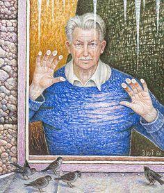 AUSEKLIS BAUŠKENIEKS | Latvian | Jelgava, Latvia 1910—Riga, Latvia 2007.  Pašportrets aiz stikla (Self-portrait behind glass),  1986