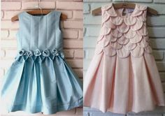 Slash bodice pattern and spread to include long kick pleats down to waist line. Could work. Frocks For Girls, Kids Frocks, Little Girl Outfits, Little Dresses, Little Girl Dresses, Cute Dresses, Kids Outfits, Girls Dresses, Frock Patterns