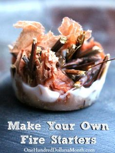 Make Your Own Fire Starters for Free - One Hundred Dollars a Month Homemade Fire Starters, Pinecone Fire Starters, Make Your Own, Make It Yourself, Old Candles, How To Make Fire, Diy Fireplace, Fireplace Design, Fireplaces