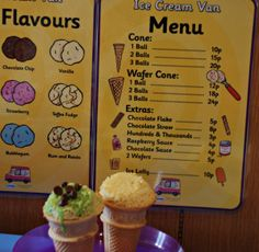 Ice cream flavour poster and menu for role playing ice-cream shop