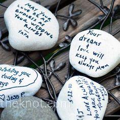 Wishing Stones - Guest Book Alternative - White - 100 Count - Eco Friendly, Fun, and Super Unique, via Etsy. Wedding Tips, Our Wedding, Wedding Photos, Wedding Reception, Wedding Details, Rustic Wedding, Wedding Stuff, Camo Wedding, Wedding 2017