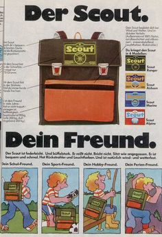 Scout Schulranzen, meiner war gelb-orange Childhood Games, 90s Childhood, My Childhood Memories, Nostalgia 70s, Good Old Times, Young Life, Teenage Dream, 90s Kids, Do You Remember