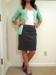 Mint cardigan, grey skirt, grey pumps. Cute and professional teacher outfit. Blog tells you where to buy everything--it's all reasonably priced and fits in a teacher budget!