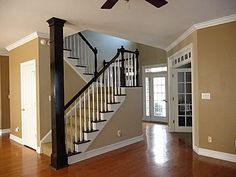 Painted staircase - would a gel stain work to take the white banister in our home to look like this?