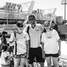 L'equip de júniors femení del Cambrils Club natació als campionats d'Espanya 2015 a les piscines Picornell de Barcelona. Clàudia,  Bea i Manel.