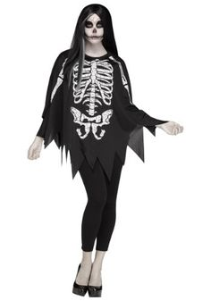 Women's White Bones Poncho Costume