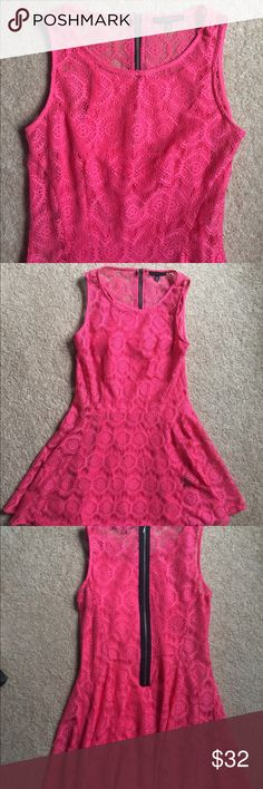 Gorgeous Bright Pink Fit & Flare Dress✨ This dress is in EUC! Worn only once. Perfect dress for summer! Bright pink dress with detailing that imitates lace. Super pretty! Cami/slip attached. Size is M. Zipper goes down the back. Purchased from Macy's! Fishbowl Dresses