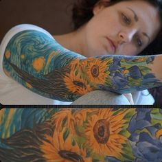45 VINCENT VAN GOGH TATTOOS Sunflowers within the Starry Night. Another amazing combo of Starry night with the sunflowers is next on the list. Future Tattoos, Love Tattoos, Tattoo You, Beautiful Tattoos, Body Art Tattoos, Tatoos, Van Gogh Tattoo, Vincent Van Gogh, Van Gogh Tatuaje