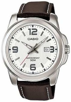 Casio Men's MTP1314L-7AV Brown Leather Quartz Watch with Silver Dial Casio. $28.18. 50 Meters / 165 Feet / 5 ATM Water Resistant. 48mm Case Diameter. Quartz Movement. Mineral Crystal. Save 37% Off!