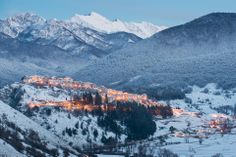 The beautiful winter panorama between Pescasseroli and Opi in Abruzzo National Park