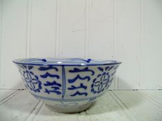 Vintage Asian Style Ceramic Soup Bowl  Traditional by DivineOrders