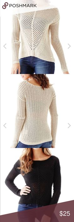 Black scoop neck Sweater NWT. Black scoop neck sweater from Guess Factory. First photo is the style color is black. Size Large Guess Tops