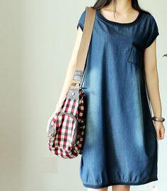 Items similar to Summer cotton denim dress on Etsy Denim Fashion, Fashion Outfits, Indigo Dress, Cotton Kaftan, Full Figure Fashion, Denim Cotton, Denim Shop, Sleeved Dress, Dress Sewing