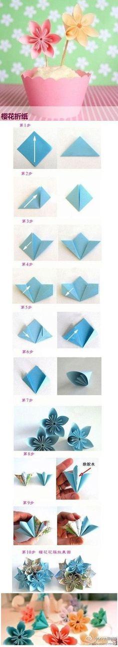 flower origami, origami, paper making, paper folding, japanese origami, diy, craft, creative