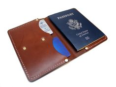 Leather Passport Wallet, Handmade Wallets, Passport Cover, Usa, Brown, Stuff To Buy, Travel, Leather, Viajes