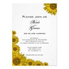 #Sunflower Edge #Wedding #Invitation Invite your friends and family to your nuptials with the pretty Sunflower Edge Wedding Invitation. Personalize it with the names of the bride and groom and details of your marriage ceremony. This elegant custom floral wedding invite features yellow sunflowers adorning the corners with a white background. Perfect for a classy June, July or August summer; September, October or November fall or sunflower wedding theme. http://www.zazzle.com/loraseverson*