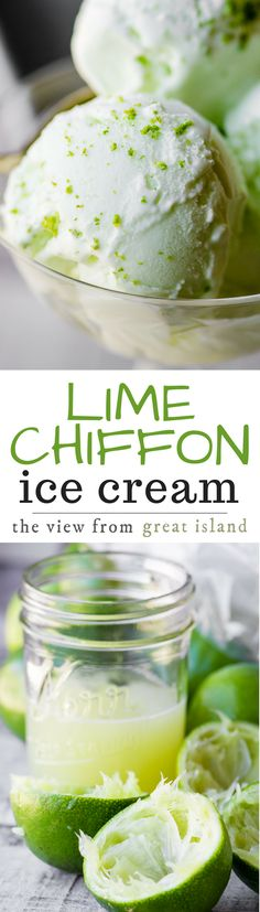 Lime Chiffon Ice Cream ~ this ultra tangy and ultra easy homemade lime ice cream recipe has a secret weapon that makes it the creamiest ice cream ever. No wimpy lime flavor here, this is the REAL DEAL! | dessert | frozen | summer | citrus | sour cream | no egg ice cream |