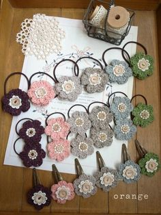 Crocheted flowers hair pretties