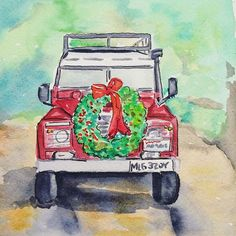 Daily Sketch - Day 330: Beep Beep! Let's roll into December in style - I'm imagining that the 1983 Land Rover posted by @mossandtwigs is actually Santa's all-road vehicle (as captured in a photo by Jennifer Winter Photography) Ho! Ho! Ho! #30minutesketch #paintingaday #instagraminspiration #idreamofstudios #penpluspaint #holidaywheels #happydecember #christmascheer #santaswheels