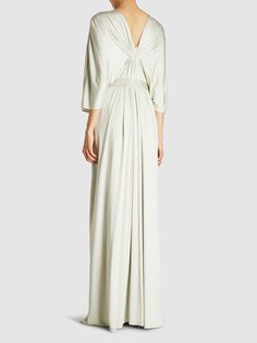 Discover the Draped and Gathered Silk Gown by Reem Acra at The Modist. Shop the range today and discover Silk Kaftan, Silk Gown, Silk Chiffon, Grey Gown, Cape Gown, Classic Outfits, Classic Clothes, Reem Acra, Two Piece Dress
