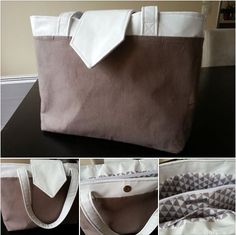 Un sac Grand Madison cousu par El'En en simili blanc, lin taupe et doublure assortie.