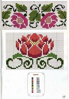 Gráficos de ponto cruz: Barradinho flores 123 Cross Stitch, Cross Stitch Flowers, Hand Embroidery Patterns, Embroidery Stitches, Bargello, Loom Beading, Pixel Art, Crafts For Kids, Crafty