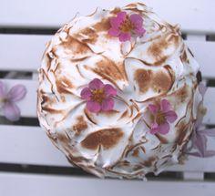 Baked Alaska with marcipan cake, vanilla ice cream and rhubarb compote :-)