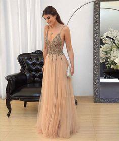 v neck sequin tulle long prom dresses, evening dresses,PD46007 #promdresses #fashion #shopping #dresses #eveningdresses