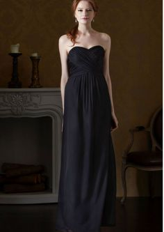 2015 Zipper Up Black Sweetheart Sleeveless Ruched Chiffon Floor Length Bridesmaid / Prom Dresses By Eden 7437