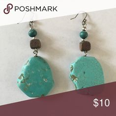 Turquoise Stone and Beaded Earrings Such pretty and fun Earrings! Jewelry Earrings