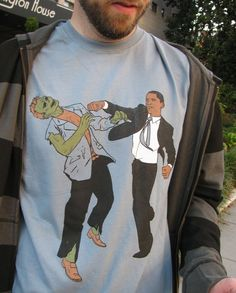 Why don't I own this? In Stock XL Obama Vs Zombies Four Color Unisex by tinaseamonster, $20.00