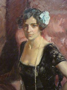 detail:  Clotilde in Evening Dress. Señora de Sorolla (Clotilde García del Castillo, 1865–1929) - by Joaquín Sorolla y Bastida (Spanish, Valencia 1863–1923 Cercedilla) 1910 (the painter's wife)
