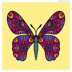Adult Coloring app by Teazel. Coloring Apps, Adult Coloring, Colouring, Pigment Coloring, Tatoo Art, Butterfly, Printables, Adult Colouring In, Print Templates