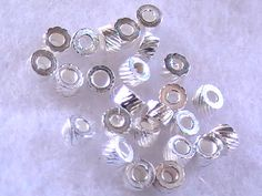 Silver Grooved Cylinder Beads 3mm 25 DIY Jewelry by @dragonflyridge, $3.00