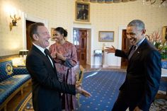 """Nov. 22, 2016 """"Bruuuuuce! The President reaches out to shake hands with Bruce Springsteen in the Blue Room of the White House prior to the Presidential Medal of Freedom ceremony. I'm so happy for Bruce, having been a fan of his for almost 30 years during which I've seen at least 35 of his concerts."""" (Official White House Photo by Pete Souza)"""