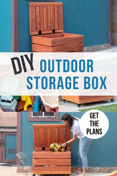 Learn how to build a DIY outdoor storage box for your patio, porch, or deck to store toys, packages, and tools. #woodworking #outdoorstorage #AnikasDIYLife Woodworking Furniture Plans, Woodworking Projects That Sell, Beginner Woodworking Projects, Diy Woodworking, Diy Outdoor Toys, Outdoor Toy Storage, Diy Toy Storage, Kreg Jig Projects, Scrap Wood Projects