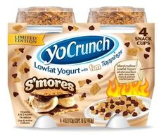 Crunch yogurt - all-natural, lowfat Greek yogurt with toppings like OREO, smores, and Dove chocolate. All the fun of Dairy Queen packed into a healthy snack! Low Fat Yogurt, Yogurt Cups, Greek Yogurt, Dove Chocolate, Chocolate Chips, Yummy Treats, Yummy Food, Gluten Free Deserts, Junk Food Snacks