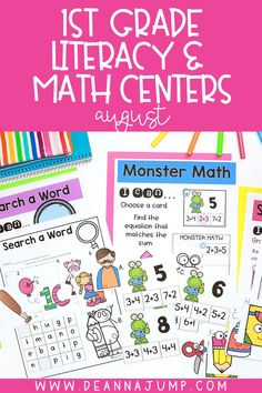 Need some great back to school centers for first grade? This bundle of math and literacy first grade centers are perfect for those beginning months of first grade where students are practicing important skills like cvc words and addition.