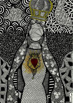 Luciana Pupo Art - lucianapupo.tumblr.com Mama Mary, Mary I, Holy Mary, Mother Mary, Catholic Art, Religious Art, Arte Black, St Maria, Gelli Plate Printing