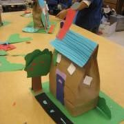"""Dream house out of brown lunch bag... pair with """"If I Built a House"""" by Chris Van Dusen for construction theme."""
